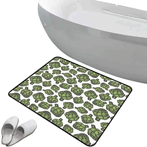 Non-Slip Bathroom Rug Artichoke Soft Skidproof Bath Mat Safe Area Detailed Drawing of Super Foods Fresh Vitamin Sources Natural Nutrition Source,Forest Green Doormat Bedroom Living Room Kitchen Decora