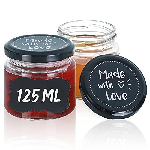 Praknu 25 Vasetti di Vetro Ermetici per Conserve - 125 ml - con Coperchio e Etichette - Barattoli per Marmellata, Confetture