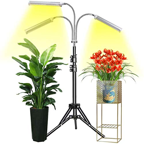 GroCruiser Lámpara LED Cultivo con Soporte, Espectro Completo 150W 315 LED Lámpara de Planta para Plantas de Interior, Grow Light con Soporte de Trípode Ajustable 15-47 Pulgadas & 3 Modos de Brillo