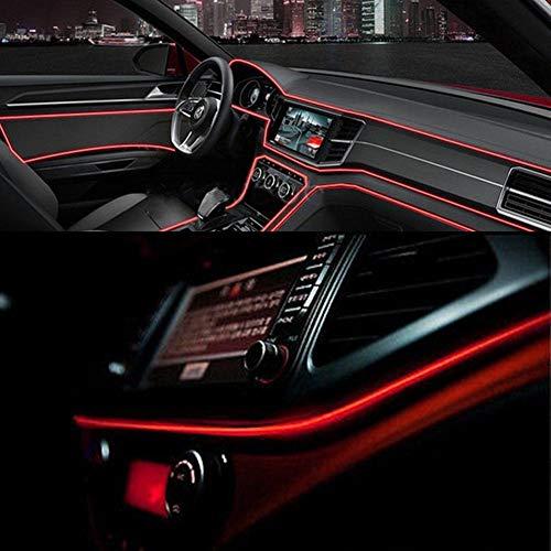 HOTEU 4M Auto LED Innenraum Umgebungslicht Streifen 12V Innenraum Auto Licht Band Beleuchtung Glasfaser Lampe Atmosphäre Dekoration