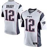 TOPSTEE Camiseta de fútbol americano personalizada Tom Patriots NO.12 Blanco, Brady New England Game Jersey repetible Limpieza Entrenamiento Camisa para Hombres