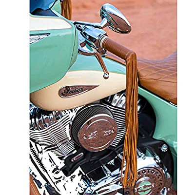Indian Motorcycle Genuine Leather Handlebar Grip Wraps with Fringe, Pair - 2879553-05 from Polaris