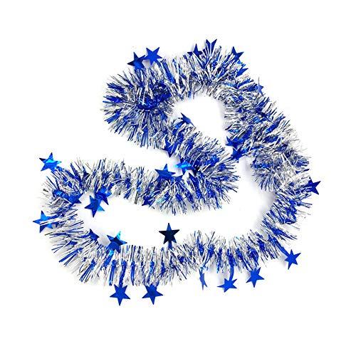 Cosanter Cinta de Navidad de Navidad Cintas para Decorativas árbol Navidad Boda Partido Cinta Guirnalda Adornos de Navidad 200cm, 1PCS (Azul)