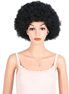 8inches Afro Wig Afro Wigs For Black Women Afro Wigs 70's Men Kinky Curly Synthetic Hair Full Wigs for Women