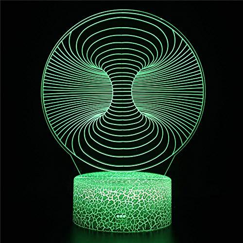Luz nocturna de ilusión 3D con control remoto de mareos, luz de noche táctil remota llevó luz 3D que cambia de color para bebé niños mesita de noche lámparas de noche para dormir