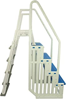 Confer Plastics Above Ground Swimming InPool Step & Ladder   Heavy Duty   White Frame with Blue & Gray Steps   Deck Height Up to 60 Inches   Enter & Exit Your Pool Safely