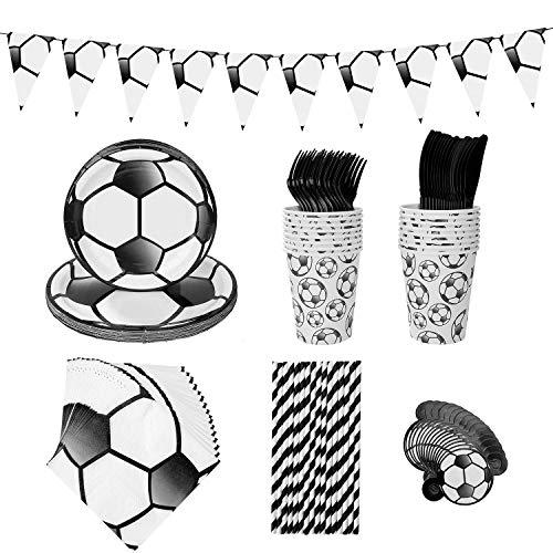 MaoXinTek Fútbol Vajilla de Desechable Accesorio de Decoración de Fiesta de Cumpleaños para 16 Personas Plato Pancarta Servilletas Taza Tarjeta de Invitación para Niños Niña Baby Shower Boda 113 Pcs