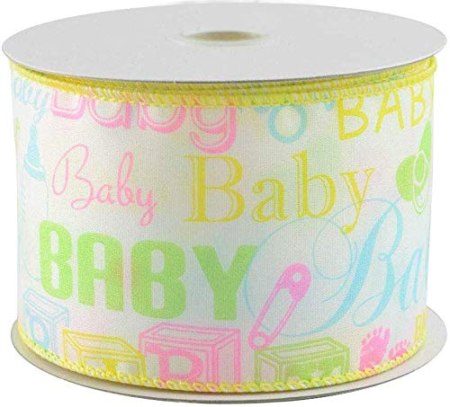 Pastel Baby Print Wired Ribbon - 2 1/2