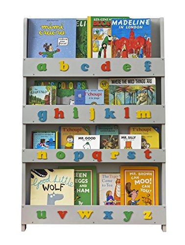 Bibliothèque Murale Enfant (0-10 ans) Tidy Books en Bois Alphabet 3D, Bibliothèque Montessori Grise, Étagère Livre Enfant, Murale, 115 x 77 x 7 cm, Écoresponsable, Fait Main, L'Originale depuis 2004