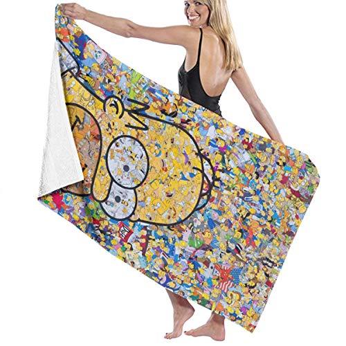 Cartoon-Simpsons-Badetuch, super weich, schnell trocknend und sehr saugfähig, hochwertiges Handtuch, 81,3 x 132 cm, Badetuch Zubehör Pool-Handtuch.