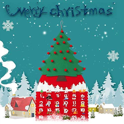 Fiaoen - Calendario de árbol de Navidad (Fieltro, 90 cm), diseño de árbol de Navidad