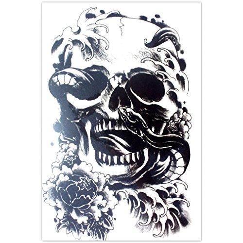 EROSPA® Tattoo-Bogen temporär - Schädel / Totenkopf mit Schlange - 15 x 21 cm