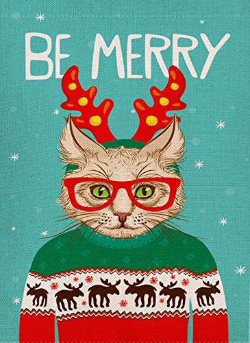 Dyrenson Home Decorative Be Merry Christmas Garden Flag Hipster Cat Double Sided, Xmas Quote Kitty House Yard Flag Kitten, Winter Garden Yard Decorations, Funny Seasonal Outdoor Flag 12 x 18 Holiday