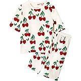 Unifriend 7分袖7分丈 キッズ 女児 綿100% オーガニック ルームウェア パジャマ ねまき 上下セット (ハートチェリー, 140cm (9-10歳))