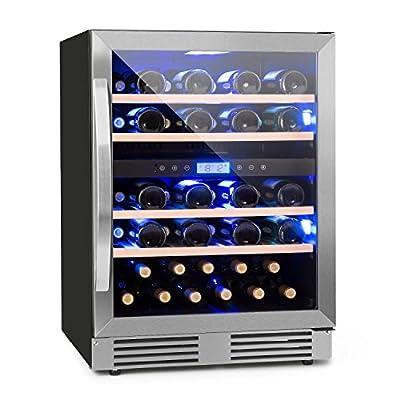 Klarstein Vinovilla Duo43 - Wine Refrigerator, Beverage Fridge, Volume: 129 litres, 4 Shelves, Touch Control, LED Lighting Selectable in 3 Colours, Two Zones, Adjustable 5-20 Degrees, Black from Klarstein
