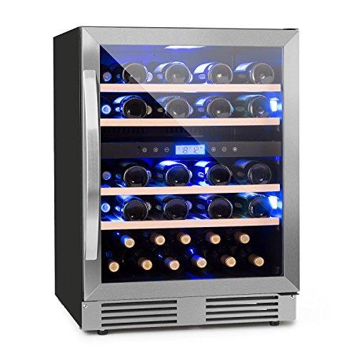Klarstein Vinovilla Duo43 - Weinkühlschrank, Getränkekühlschrank, 129 Liter, 43 Weinflaschen, 4 Holzeinschübe, Touch-Bediensektion, Innenbeleuchtung in 3 Farben wählbar, 2 Kühlzonen, schwarz