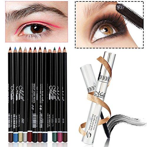 WINJIN Mascara - 12pcs Eyeliner - Lot de 13 - Livraison gratuite - Mascara Enlèvement facile de l'eau Stylo Eyeliner Noir Mascara gel 3D et 4D Mascara Artistic Volume Mascara