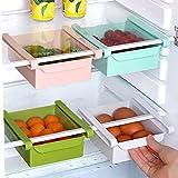 POLP Frigor/íficos Organizadores de Cajones Caja de Almacenamiento del Refrigerador Mantiene el Refrigerador Ordenado Estante Soporte Contenedor de Alimentos Cestas Blue, 1 Pieza