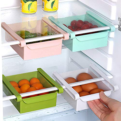 Nevera Organizador Cesta - Cajón Deslizante de Nevera Organizador de Refrigerador Contenedor de Comida Estante de Almacenamiento del Refrigerador 1 pieza (Rosado)