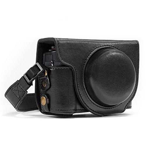 MegaGear Ever Ready MG763 - Funda de Piel con Correa para cámara Canon PowerShot G7 X Mark II (con Acceso a la batería)