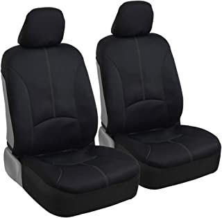 BDK Stitched Neoprene Car Seat Covers - Comfortable Polyester Protection - Gray Accent Stitching