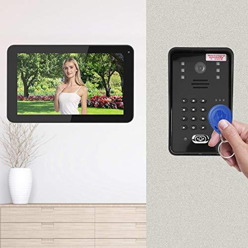 Videoportero, Pantalla LCD Contraseña WiFi Portero con Cable, Grabación de Video Sistema de Seguridad para el(European regulations)