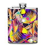 Sdltkhy Seamless Tropical Pattern with Fish and Strelitzia Abstract Exotic Texture Summer Ornament 304 Stainless Steel Flask 7oz Unisex