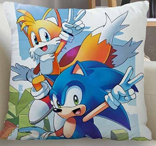 FENGHU Kissen Sonic New Sonic The Hedgehog Anime Kissenbezug Schlafzimmer Home Office Dekorativer Kissenbezug Quadratischer Reißverschluss Kissenbezug Satin Soft Cover