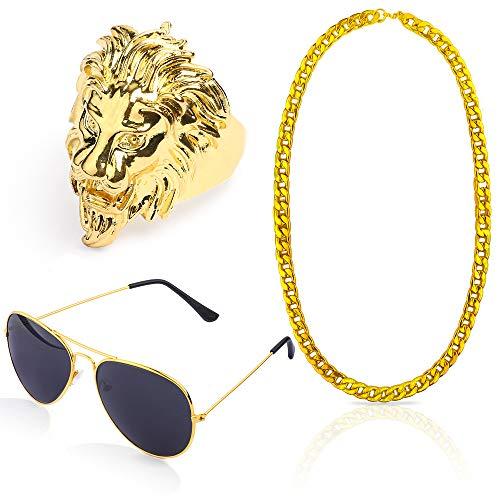 Beelittle Hip Hop Rapper Gangster-Kostüm-Set - Promi-Retro-Stil-Goldkette Goldkette Hip Hop Ring - 80er Jahre 90er Jahre Zubehörset (A)