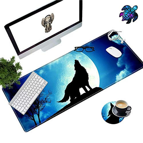 Desk Pad Mat Large Mouse Pad XL Extended Mousepad Gaming with Wolf 31.5' 11.8' Huge Mouse Pads for Computer Laptop Home Office + Cup Coaster and Cute Stickers