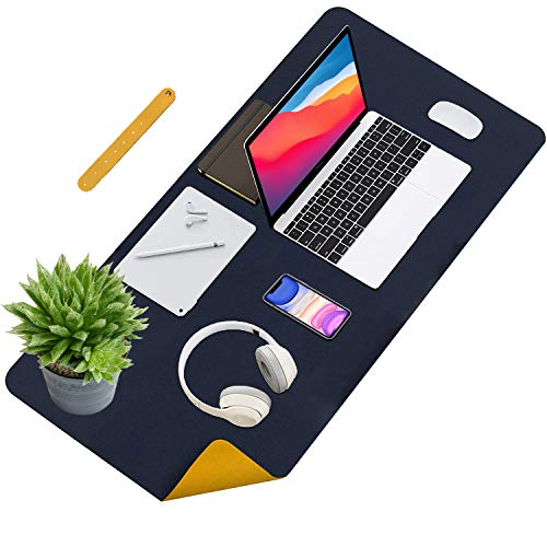 Desk Pad Protector Mat 2021 Latest Version, Dual Sided Non Slip Full PU Leather Desk Writing Mat for Office & Home, Large Mouse Pad Blotter for Typing, Gaming and Writing 31.5'x15.7' (XL-Blue/Yellow)