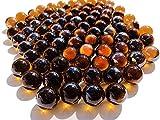 CRYSTAL KING Canicas de cristal doradas y marrones, 16 mm de diámetro, 500 g, bolas decorativas, canicas transparentes, cobre, color dorado y transparente