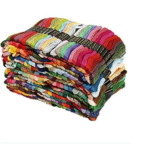 DYSCN 200 Farben Regenbogenfarbe Stickgarn - Kreuzstichfäden - Freundschaftsarmbänder Zahnseide - Bastelseide Handstrick-Strickfaden zum Nähen von Zubehör