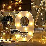 LED Zahlen Lampe Nummer Beleuchtete Ziffern 0 bis 9,Led dekoration für Geburtstag Party Hochzeit & Urlaub Haus Bar (9)