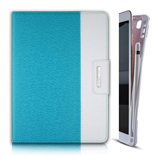 Thankscase Case for iPad 10.2 Inch/iPad 8th Gen/iPad 7th Gen, Soft TPU Case with Pencil Holder [Compatible with Smart Keyboard], Stand Cover with Hand Strap, Wallet and Card Slots (Teal Blue)