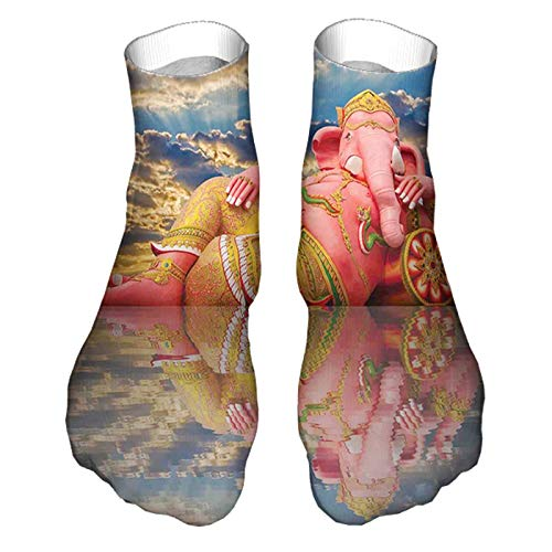 Men's and Women's Funny Casual Socks Giant Chubby Statue of Asian Elephant Figure on Beach