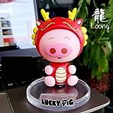 Zodiac Pig Creativo De La Decoración del Coche De La Joyería del Coche Que Sacude La Cabeza Muñeca Teléfono Móvil Asiento Muñecas Regalo 12 (H) 10cm Dragón