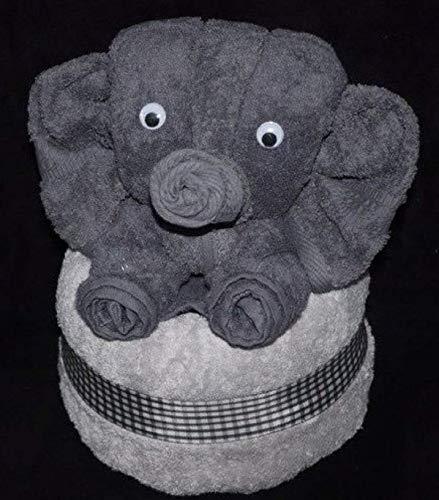 Elefant als Handtuch-Tier in anthrazit auf silbergrau, Handtuchfigur