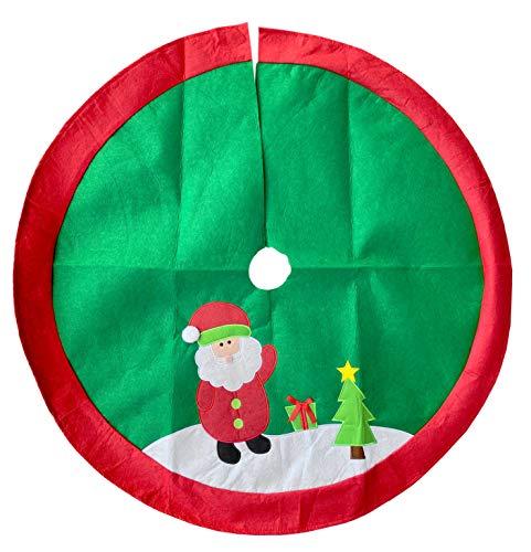 MIK Funshopping Weihnachtsbaumdecke, Christbaumdecke, Weihnachtsbaumständerhülle, Tannenbaum Decke, rund 100 cm (Santa rot-grün)