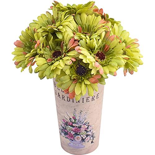 15 Piezas de Flores de Margaritas de Seda Artificial Flores de Gerbera Falsas Ramo de Novia para el Banquete de Boda en casa decoración de Centro de Mesa DIY (Verde)