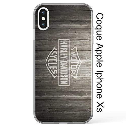 Super FABRIQUE - Cover morbida in silicone per Apple iPhone (7/8 Plus - X/XR/XS/XS Max/11/11Pro/11 Pro Max) con stampa Harley Davidson (iPhone XS Max)