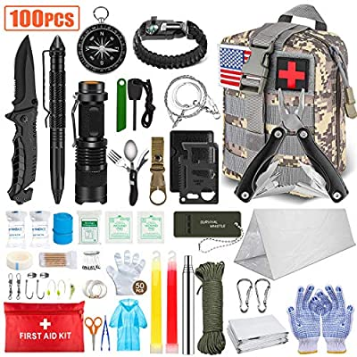 TAIMASI 100PCS Emergency Survival Kit and First Aid Kit, Professional Survival Gear Tool with Tactical Molle Pouch and Emergency Tent for Earthquake, Outdoor Adventure, Camping, Hiking, Hunting