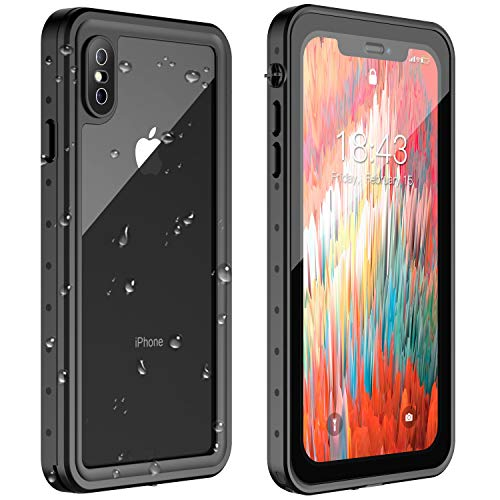 Oterkin iPhone X/XS Waterproof Phone Case, Dual Layer Protective Clear Cover with Screen Protector Full Body Seal Bumper Case for iPhone X/XS Silicone Shockproof Dustproof Case for Women Man Black