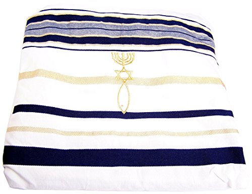Holylandmarket Damen Umschlagtuch, - White And Dark Blue/ Golden Lines, 182,88*55,88 cm