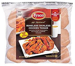Tyson Boneless Skinless Chicken Thighs, 2.5 Pound (Frozen)