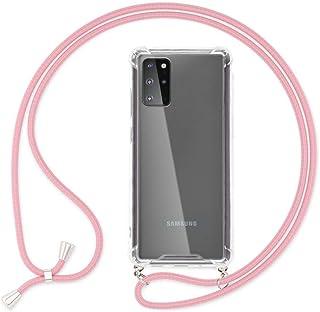 NALIA Carcasa con Cuerda Compatible con Samsung Galaxy S20 Plus Funda, Transparente Hard-Case & Correa Colgante para Colgar, Protectora Cover & Cordon para Llevar en el Cuello, Color:Rosa
