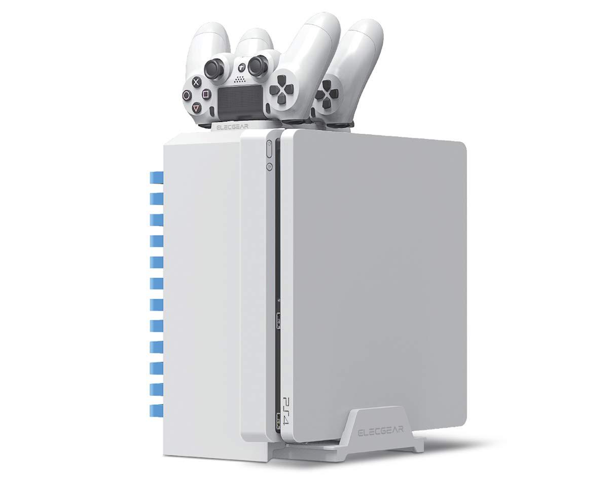 Games Storage Tower, Soporte Vertical para PS4, Estación de carga cargador, blanco juego Blu-ray Soporte de Torre de Almacenaje, Controller Charging Station Mando para PlayStation 4, Pro, Slim: Amazon.es: Informática