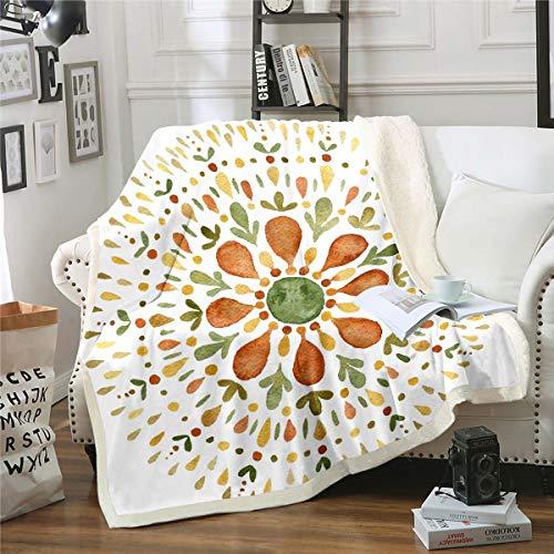 Loussiesd Manta de forro polar estilo bohemio para cama, sofá, habitación, ultra suave, acuarela, estilo hoja marrón, decoración botánica para bebé, 76,2 x 101,6 cm