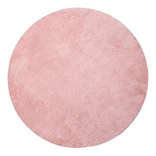 Alfombra Redonda Salón Pelo Corto Moderna Mullida Lavable Monocolor, tamaño:Ø 160 cm Redon, Color:Rosa