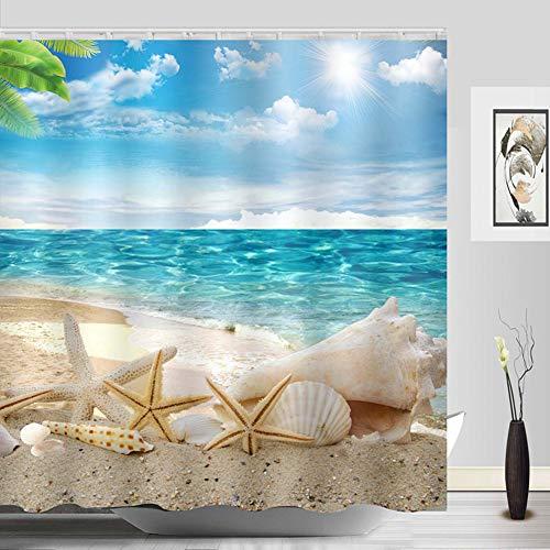 Sylbapestry Beach Shower Curtain Fabric Washable Seashell Starfish Bathroom Decor Digital Printed No-Fade Blue